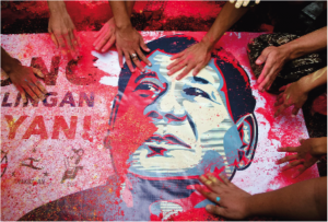 Protest Picture with blodd stained on Rodrigo Duterte President of the Philippines