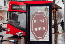 Residential Drug treatment decisions, showing a bus at a stop with it's your choice