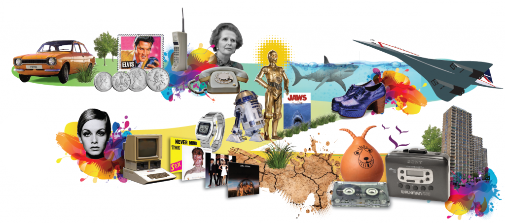 Image showing icons from last 50 years covering five decades of Phoenix Futures residential drug treatment