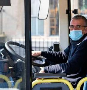 bus driver wearing a facemask